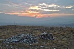 Sunset near Isperihovo. Red sunset near Isperihovo village stock photo