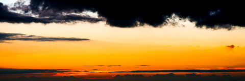 Sunset. Near Kona, Hawaii. Stitched panorama Royalty Free Stock Photos
