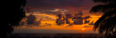 Sunset. Near Kona, Hawaii. Stitched panorama Royalty Free Stock Photo