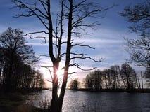 Sunset near lake, Lithuania Royalty Free Stock Photo