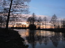 Sunset near lake, Lithuania Stock Photo