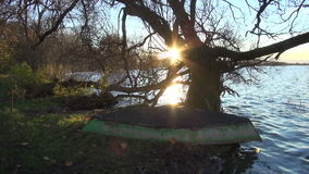 Sunset near lake with old boat and tree. Evening sunset near lake with old boat and tree stock footage