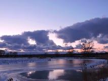 Sunset near little lake Stock Photos