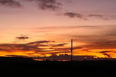 Sunset near Llanelli in Wales. Taken in Winter when the sky is glowing Stock Image