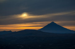 Sunset near Mutnovsky volcano Royalty Free Stock Image