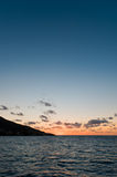 Sunset near Panarea island. Photo taken during boat trip near Panarea island Stock Photos