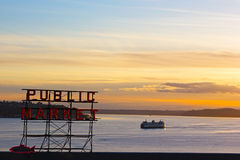 Sunset near Pike Market in Seattle, WA Stock Photo