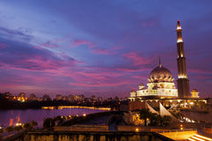 Sunset near the Putra Mosque in Putrajaya, Malaysia Royalty Free Stock Image