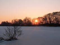 Sunset near river Stock Photos