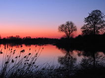 Sunset near river, Lithuania Stock Photos