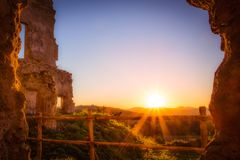 Sunset near Rome. Sunset on an ancient ruin west of Rome Stock Images