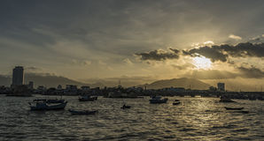 Sunset near sea in Nha Trang city. In Vietnam Stock Photos