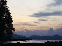 Sunset near the shore of a tropical sea. Palawan Island stock video
