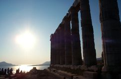 Sunset near temple. Sunset near Cape Sounion Temple near Athens in Greece royalty free stock image
