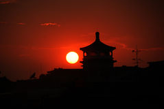 Sunset near Tiananmen square in Beijing Royalty Free Stock Image