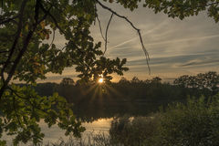 Sunset near Vrbenske ponds in south Bohemia royalty free stock images