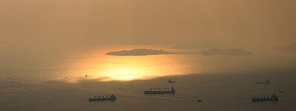 Sunset at the nearby islands of hong kong. View from victoria hill hong kong royalty free stock photos