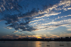 Sunset nearby Qiantang river Stock Images