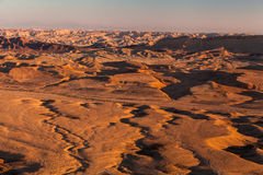 Sunset in the Negev desert. Makhtesh Ramon Crater Royalty Free Stock Photo