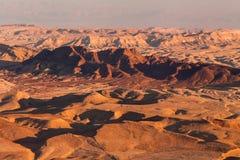 Sunset in the Negev desert. Makhtesh Ramon Crater Stock Photo