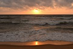 Sunset on Negombo beach, Sri Lanka Royalty Free Stock Photography