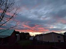 Sunset in Philomath Oregon neighborhood royalty free stock image