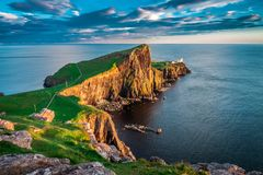 Sunset at the Neist point lighthouse, Scotland, UK. Europe Stock Image