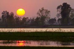 Sunset in nepali swamp, at Bardia, Nepal Stock Images