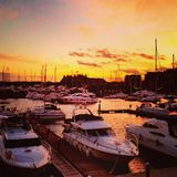 Sunset at Neptune Quay Ipswich. Stock Image