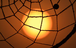 Sunset with net of dreamcatcher stock images