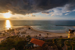 Sunset in Netanya Royalty Free Stock Photos