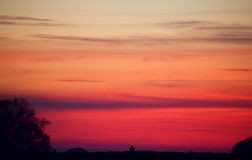 Sunset in the netherlands rural area with silhouette trees. Colorfull sunset in the netherlands rural area Royalty Free Stock Photos