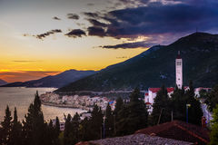 Sunset at Neum place. Sunset view at Neum place on Adriatic Sea, Bosnia and Herzegovina Royalty Free Stock Photography