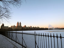Sunset at New York Central Park (the Lake) Royalty Free Stock Photography
