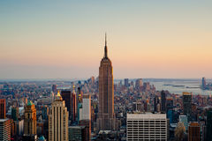 Sunset in New York City. View of the Empire state building in Manhattan Stock Images