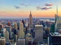 Sunset New York City Aerial View from Top of the Rock stock photo
