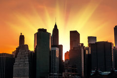 Sunset in New York City Stock Images