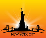 Sunset New York City skyline Statue of liberty Vector Royalty Free Stock Photo