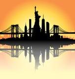 Sunset New York City skyline Vector Stock Photography