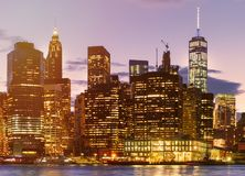 Sunset in New York City with a view  of Lower Manhattan Royalty Free Stock Photography