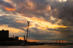 Sunset in New York royalty free stock photography