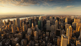 Sunset in New Yourk City. Panoramic view of manhattan from empire state building on a hot summer evevning Stock Image