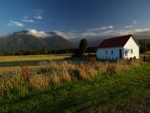Sunset in new zealand. Little church during sunset in new zealand Royalty Free Stock Images