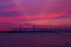 Sunset on the Newport Bridge, Newport, RI. Royalty Free Stock Images