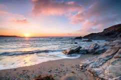 Sunset at Newquay Beach Royalty Free Stock Photography