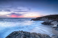 Sunset at Newquay in Cornwall Stock Image