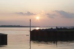Sunset on Niagara River. Niagara River sunset looking toward Niagara Falls Stock Images