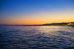 Sunset in Nice, France, view from beach Stock Images