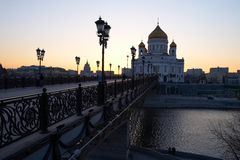 Sunset in the night city. Russia Stock Photos