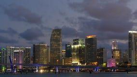 Sunset night light miami downtown panorama gulf bridge 4k time lapse florida usa stock footage
